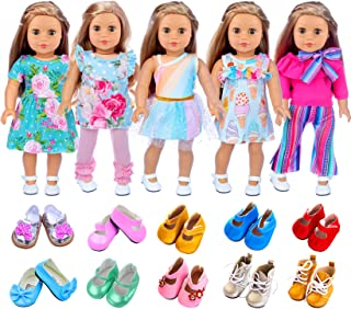 ZITA ELEMENT American 18 Inch Girl Doll Clothes Outfits Lot 7 = 5 Daily Costumes Clothes Dress + 2 Random Style Shoes for ...