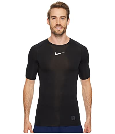 Nike Pro Compression Short Sleeve Training Top (Black/White/White) Men