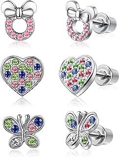 Adramata Orecchini a forma di cuore in acciaio inox con pendente a farfalla per donna e bambino