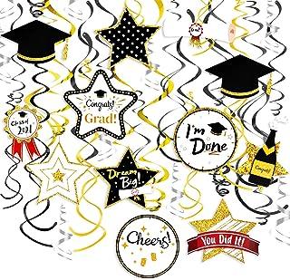 Konsait Graduation Hanging Decorations Swirls, Graduation Party Supplies 2021 Graduation Mortarboards College Diplomas Gra...