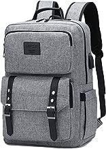 Laptop Backpack Women Men College Backpacks Bookbag Vintage Backpack Book Bag Fashion Back Pack Anti Theft Travel Backpacks with Charging Port fit 15.6 Inch Laptop Grey