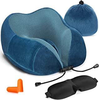 HOMIEE Travel Pillow Airplane Pillow Neck Support Pillow Memory Foam Cushion Essentials with Sleep Mask, Earplugs –Build in Pouch and Extra Pocket, Ideal for Travelling and Flights