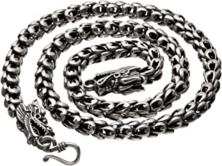 Sterling Silver Dragon Chain - Handmade Vintage 925 Necklace Thick Heavy Jewelry 18'' to 32''