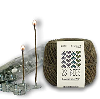 100% Organic Hemp Candle Wick + Wick Sustainer Tabs   23 Bees (200ft(Standard) x 200pcs)