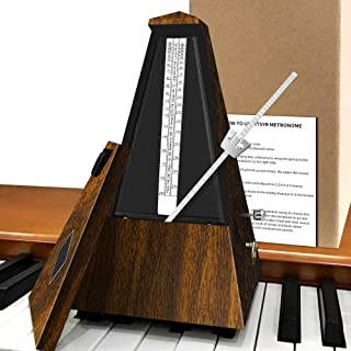 Mechanical Music Metronome Elegant Teak Vintage Design Music Timer for Drums Piano Bass Violin Guitar Track Tempo and Beat...