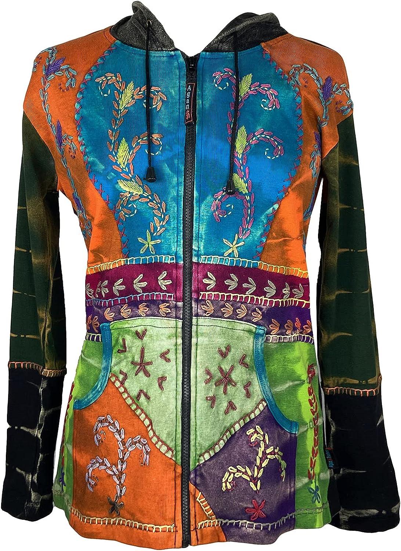 Agan Traders Women's Tie Dye Patch Embroidered Bohemian Gypsy Sweatshirt Rib Cotton Jacket