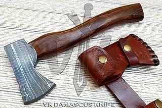 Handmade Damascus Steel Axe Hatchet Tomahawk Knife 11.00 Inches Axe Rosewood Handle vk4105