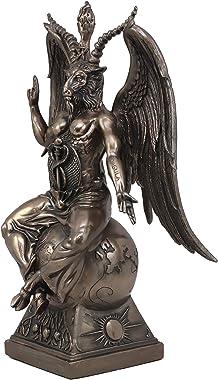 "Ebros Large 15"" Tall Church of Satan Baphomet Sabbatic Goat Idol Sitting On Globe Statue Satanic Occultic Altar Sculpture Hom"