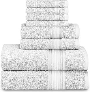 Adobella 8-Piece Bath Towel Set, Premium Combed Cotton, Highly Absorbent, Super Soft, Quick Dry, 2 Bath Towels, 2 Hand Tow...
