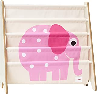 3 Sprouts Book Rack – Kids Storage Shelf Organizer Baby Room Bookcase Furniture,Elephant/Pink