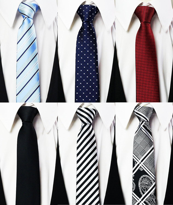 Tiger Mama 6pcs Zipper Skinny Tie Pre-tied Business Skinny Necktie Mixed Lot