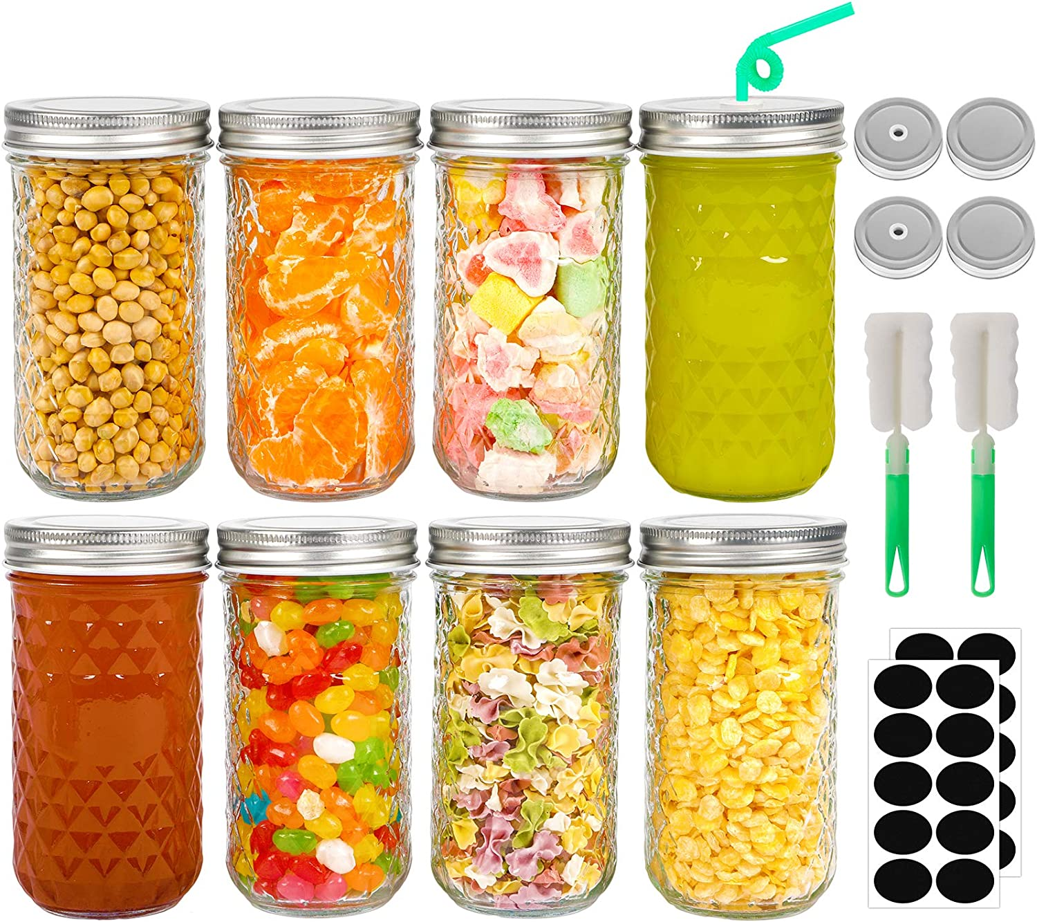 Smoothies Candy Wedding Favors Salad Spices Mason Jars 12oz Wide Mouth Glass Canning Jars with Lids Set of 8 Decoration Fruits and Vegetable Jam Jars Ideal for Jelly