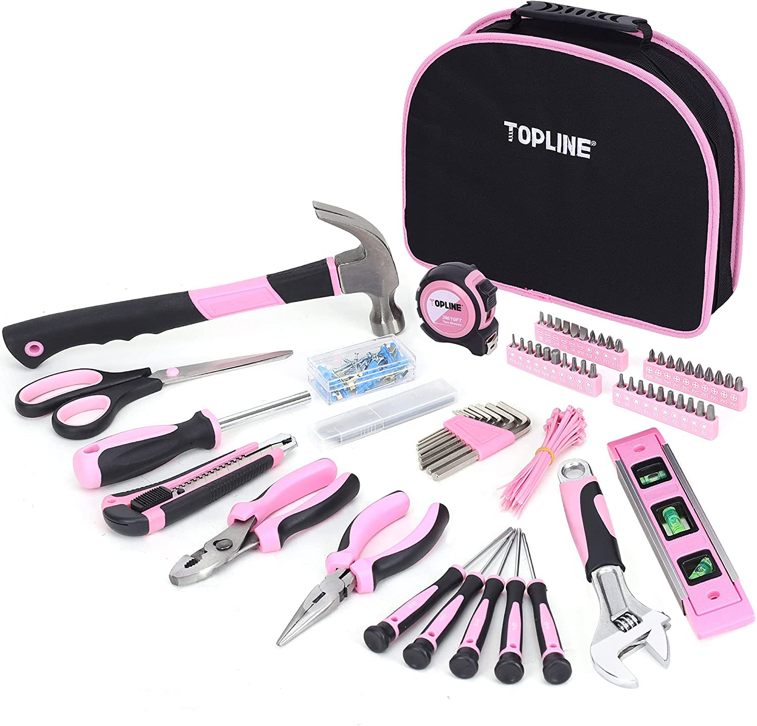 TOPLINE 208-Piece Ladies Pink Tool Set with Easy Carrying Round Pouch
