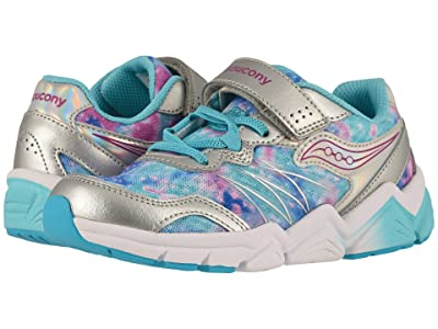 Saucony Kids Flash A/C (Little Kid) (Silver/Multi) Girls Shoes