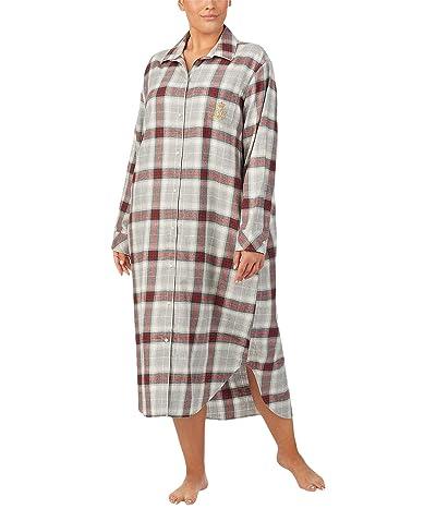 LAUREN Ralph Lauren Plus Brushed Twill Long Sleeve Notch Collar Ballet Sleepshirt (Grey Plaid) Women