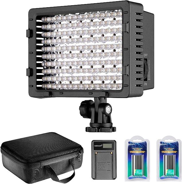Neewer Video Luz LED Regulable 216 LED para cámara Videocámara con Unidades batería de Litio NP-F550 2200 mAh Cargador USB Bolsa de Transporte para grabación de Vídeo Youtube