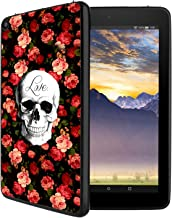 HICKORY Silicone Case for Amazon Kindle Fire 8 Tablet Light Weight [Anti Slip] Soft Shock Proof Protective Black Cover - Flower skull1