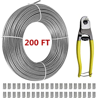 Stalye T316-Stainless Steel 1/8'' Aircraft Wire Rope for Cable Railing Kits (200 FT) Includes Cable Cutter and 40 Pcs Aluminum Crimping Loop Sleeve