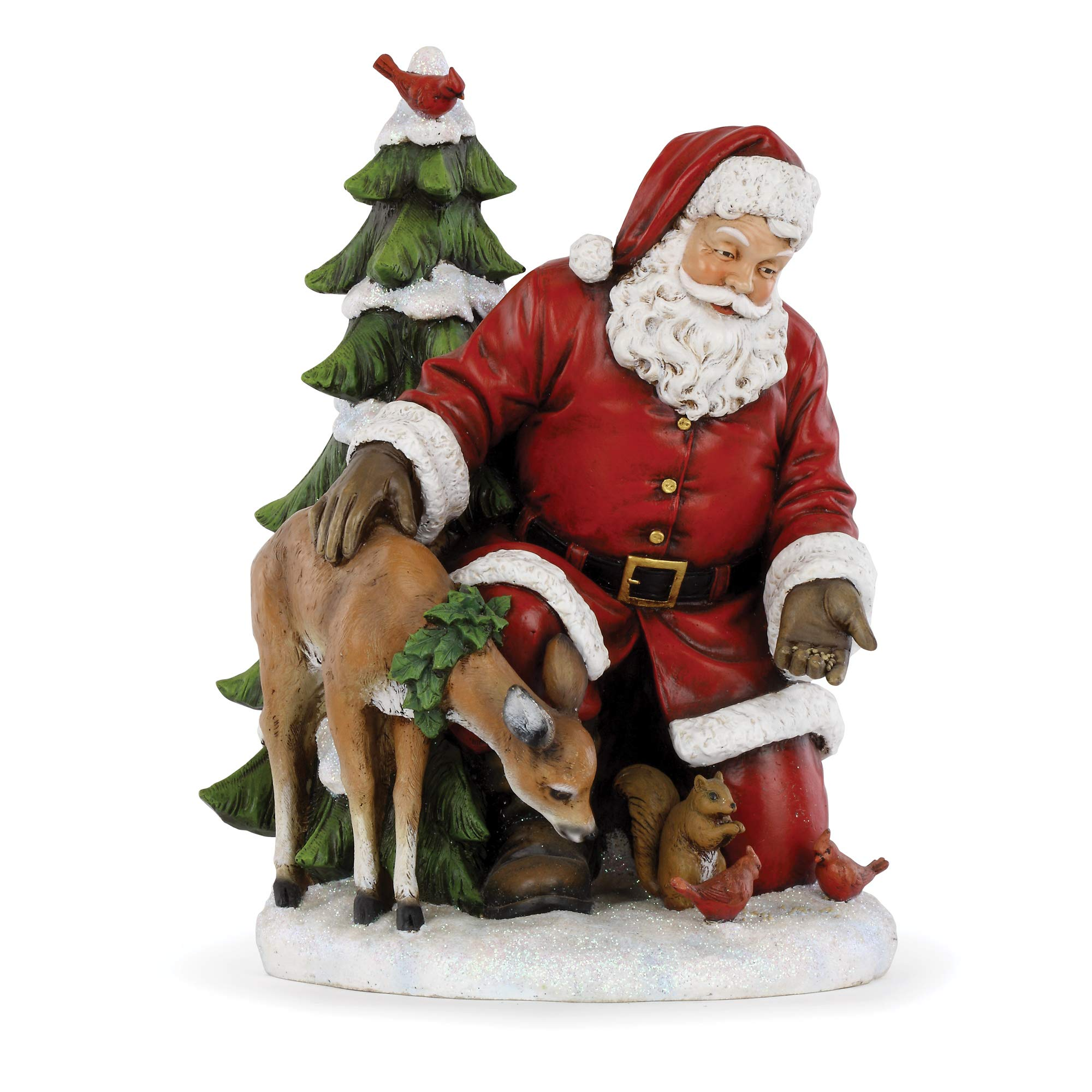 Image of A Christmas Favorite: Woodland Animals with Santa Claus Figurine