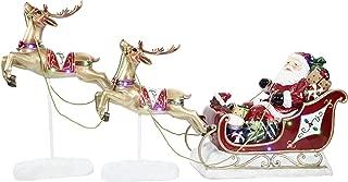 Fraser Hill Farm FFRS000-SC1-RD Indoor/Outdoor Oversized Santa Sleigh and Flying Reindeer 3-Piece LED Lights Set Holiday Decoration, Red, Multicolor