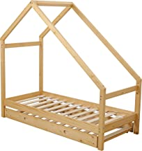 UHOM Children Wood Bed Toddler House Frame Bed Tent Floor Double Bed, Twin Size Bedroom Furniture