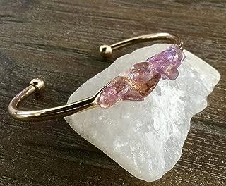 Amethyst Citrine Ametrine Gold Cuff Open Bangle Bracelet/Modern Boho Bracelet/purple/amber/gold/lilac
