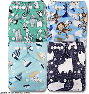 Littles /& Bloomz Patterns 316 Set of 3 with 6 Bamboo Inserts Reusable Pocket Cloth Nappy Fastener: Popper