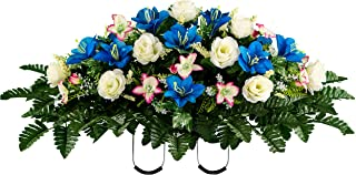 Sympathy Silks Artificial Cemetery Flowers – Realistic Vibrant Roses, Outdoor Grave Decorations - Non-Bleed Colors, and Easy Fit -White Blue Rose Saddle