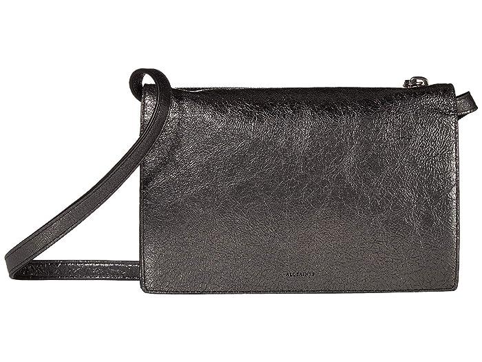 AllSaints  Miki Leather Chain Wallet Crossbody (Gunsmoke Grey) Handbags