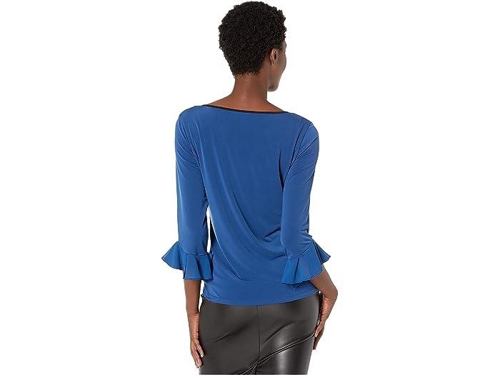 Calvin Klein Long Sleeve With Chiffon Ruffle - Women Clothing