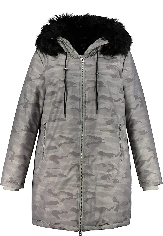 Ulla Popken Womenswear Plus Size Curvy Oversize Camo Print Hooded Lined Parka 725516