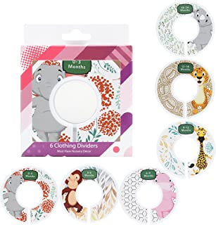Baby Closet Clothing Dividers – Set of 6 Nursery Organizers – Wardrobe Rack Dividing Label Cards With Age & Size Indications (0-24 Months) – Decorative Bedroom Organization System