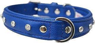 "Angel, Athens Cobalt Blue Rhinestone Collar 100% genuine Leather , 22"" x 1"", Soft Padded cushion backing, Fits Boxers, APB..."