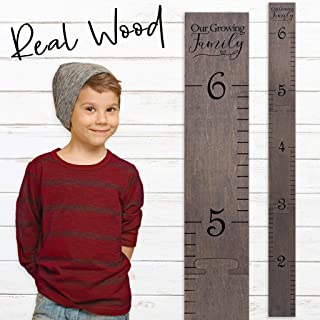 Wooden Ruler Growth Charts Ruler for Boys and Girls (Growing Family Gray)