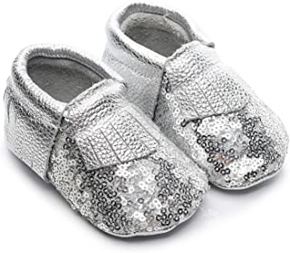 HONGTEYA Glitter Baby Moccasins Girls Genuine Leather with Tassels Non-Slip Soft Soled Infant Toddler Crib Shoes