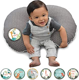 Boppy Preferred Milestones Pillow Cover, Gray Penny Dot