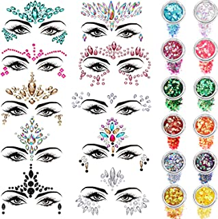 10 Sets Face Gems Glitter Face Rhinestone Stickers Face Crystal Tattoo Set Forehead Decorations with 12 Boxes Body Chunky Face Glitter for Women Mermaid Theme Party Supplies (Style Set 1)