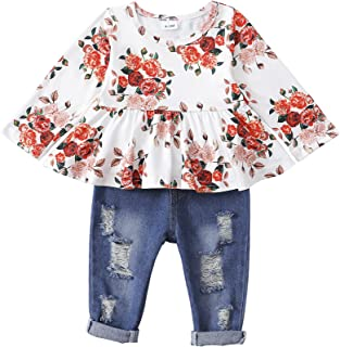 Sponsored Ad - NUFR Toddler Girl Clothes 2PCS Cute Ruffle Floral Long Sleeve Shirts Tops Ripped Jeans Baby Girl Fall Outfi...
