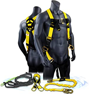 KwikSafety (Charlotte, NC) THUNDER KIT | 3D Full Body Safety Harness, 6' Lanyard, Tool Lanyard, 3' Cross Arm Strap Anchor ANSI OSHA PPE Fall Protection Arrest Restraint Construction Roofing Bucket