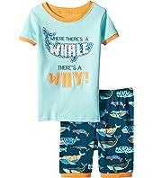 Whale Pod Applique Short Pajama Set (Toddler/Little Kids/Big Kids)