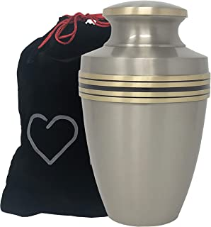 Momentful Life Metal Adult Cremation Urn - Revere Pewter Cremation Urn - Modern Accents - Silver
