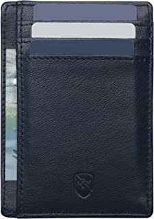 Leather Slim Wallet Card Wallet for Men, RFID Blocking Minimalist Wallet Credit Card Holder with Gift Box