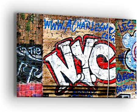 New York Street Bicycle Graffiti Urban MULTI CANVAS WALL ART Picture Print