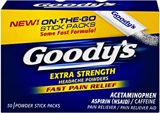Goody's Extra Strength Powders | Fast Pain Relief | Aspirin & Caffeine | 50 Count