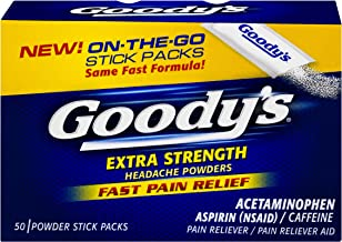 Goody's Extra Strength Headache Powders - Acetaminophen, Asprin, Caffeine Quickly Relieve Pain Due to Headaches, Body Aches, and Fever - 50 Powders (10042037104105B)