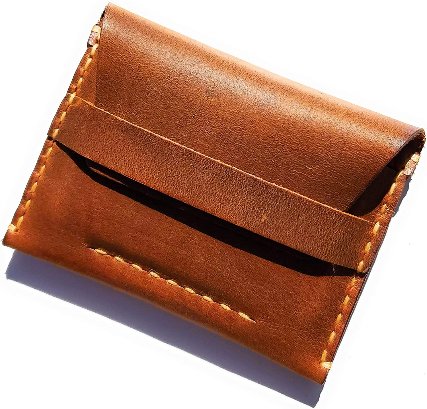 MyMesken- Leather Card Wallet for Men- Credit Card Holder- Minimalist Wallet for Men- Genuine Leather with Hand stitching