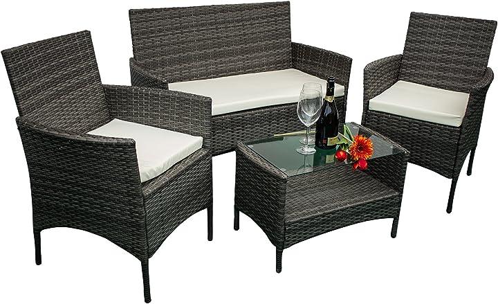 Set di mobili da giardino in ecorattan, 2 poltrone singole, 1 poltrona a 2 posti e 1 tavolo avanti trendstore B06XYNY279