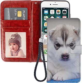 White Puppy Wallet Case Fit for iPhone 7 Plus (2016) & iPhone 8 Plus (2017) [5.5inch] with Coin Slot