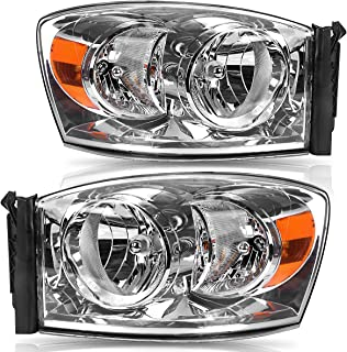 For 2006-2008 Dodge Ram 1500 Headlights Replacement 2006-2009 Dodge Ram 2500 3500 Headlamps/Light Pickup Truck Clear Housing Amber Reflector Left+Right,2-Yr Warranty
