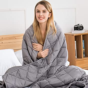 jaymag Weighted Blanket 7kg for Adults Kids Children Autism Therapy Blankets for Anti Anxiety Insomnia Stree Relief, Double - 122 x 183cm, Luxurious Grey